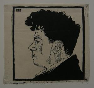 Egon Krause (XIX/XX. Jh.) Portrait eines Mannes Orig. Holzschnitt monogr 1925