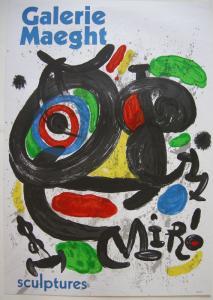 Joan Miro Plakat Orig Farblithografie sculptures Ausstellung Paris 1970