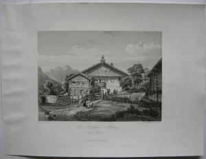 Speckbachers Haus Rinn Innsbruck Tirol Österreich Orig Aquatinta-Radierung 1840