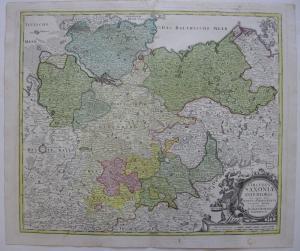 Niedersachsen altkolor Orig Kupferstichkarte Homann 1720