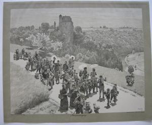 Paul Hey (1867-1952) Maispaziergang Orig Lithografie 1902 steinsigniert