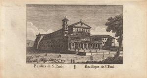 Basilica di S. Paolo St. Paulskirche Roma Italia Orig Kupferstich Vasi 1816