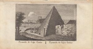 Piramide di Cajo Cestio Roma Italia Orig Kupferstich Vasi 1816