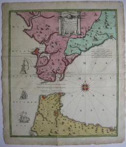 Spanien Cadiz Gibraltar altkolor Kupferstichkarte Homann 1756 Espana