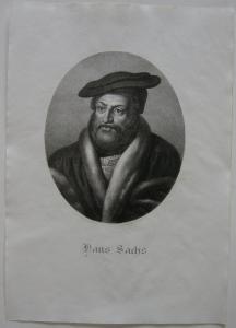 Hans Sachs (1494-1576) Dramatiker Reformator Orig Lithografie Lanzedelly 1825