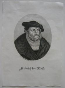 Friedrich der Weise (1463-1525) Kurfürst Reformator Orig Lithografie Erminy 1825