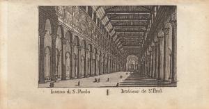 Interno di S. Paolo St. Paulskirche Roma Italia Orig Kupferstich Vasi 1816