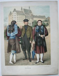 Kostüme Altenburg Thüringen 3 Chromolithografien Albert Kretschmer 1870