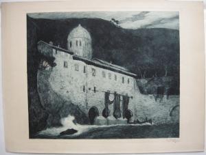 Corneille Max (1875-1924) Wasserkraftwerk b Nacht Orig Radierung 1910 signiert