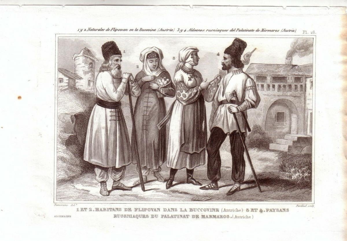 Ungarn Rumänien Bukovina Trachten Kostüme Orig Stahlstich 1850 Pardinel 0