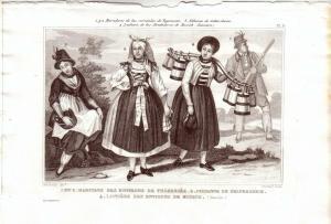 Tegernsee Bayern MilchmädchenTrachten Kostüme Orig Stahlstich 1850 Pardinel