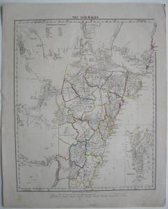 Neu Süd-Wales New South Wales Australia Kolor lithographed Map 1856 Sydney