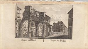 Tempio di Pallade Pallas Tempel Roma Italia Orig Kupferstich Vasi 1816