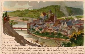 AK  Wasserburg am Inn Gesamtansicht Künstlerkarte gel 1902 Litho