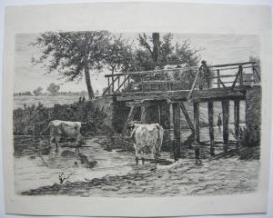 Otto Keitel Kühe im Bach Hirte auf Brücke Orig Radieruntg 1896 plattensigniert