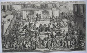 Adelige Ritterspiele Orig. Kupferstich Joh. Ben. Brühl um 1730 Ritterturnier