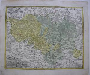 Oberlausitz kolor Orig Kupferstichkarte Schreiber bei Homann 1732 Sachsen