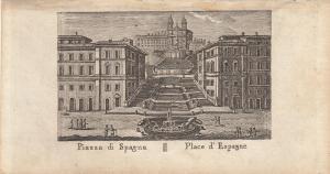 Piazza di Spagna Roma Italia Orig Kupferstich Vasi 1816