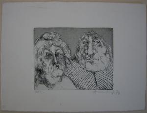 Anne Häupl (1943) Ehepaar Orig Radierung signiert 1976 Probeabzug