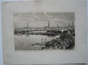 Albrecht Bruck (1874-1964) Hamburg Lombardsbrücke Ansicht Orig Radierung sign