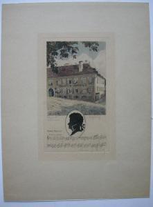 Mozart Vaterhaus Salzburg Silhouette Notzenzitat Orig Farbradierung 1930 sign