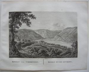 Bingen Ansicht Rhein Orig Kupferstich J. Roux 1822 Rheinland-Pfalz