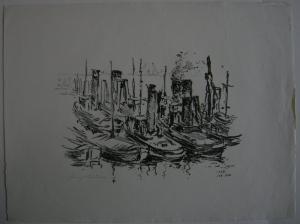 Heinrich Müller (1885-1960) Schlepper im Hafen Orig Lithografie 1948 signiert
