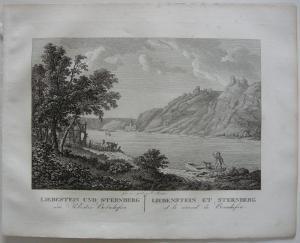 Liebestein Sternberg Rhein Orig Kupferstich J. Roux 1822 Rheinland Pfalz