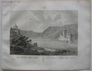 Pfalz bei Kaub Rhein Orig Kupferstich J. Roux 1822 Rheinland-Pfalz