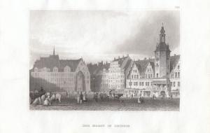 Leipzig Markt Orig Stahlstich 1860 Hildburghausen