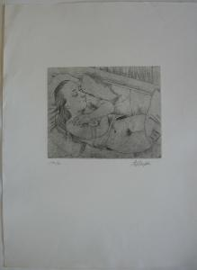 Anton W. Dreßler (1886-1970) Schlafendes Mädchen Orig Radierung signiert 1930