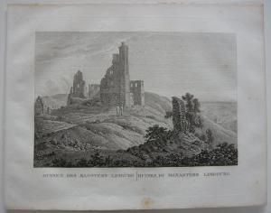 Ruinen Kloster Limburg Orig Kupferstich J. Roux 1822 Rheinland Pfalz
