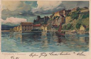 Ak Meersburg Bodensee Anischt Seeufer Künstlerkarte Diemer Litho gel 1903