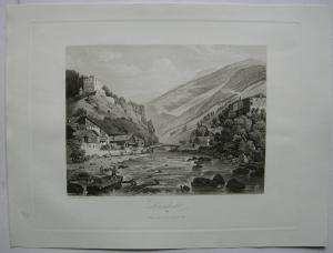 Landeck Oberinntal Tirol Österreich Orig. Aquatinta-Radierung 1840 Martens