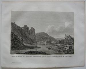 Rheingrafenstein Ebernburg Orig Kupferstich J. Roux 1822 Rheinland Pfalz