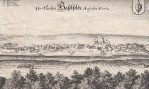 Hasselfelde Oberharz am Brocken Orig Kupferstich Merian 1645 Sachsen-Anhalt