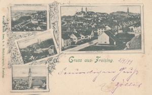 AK Freising Totale vom Pfarrturm aus Pfarrkirche Oberbayern gel 1899