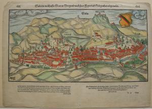 Salins-les-Bains Borgogne France kolor Orig Xylografie Holzschnitt Münster 1580