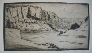 Berthold Hellingrath Sächsische Schweiz IV Orig Radierung 1930 signiert