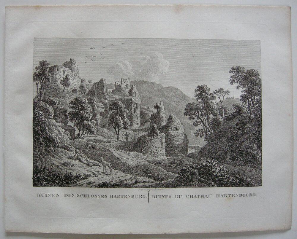 Ruinen Schloss Hartenburg Orig Kupferstich J. Roux 1822 Rheinland Pfalz 0