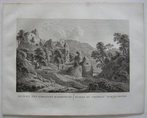 Ruinen Schloss Hartenburg Orig Kupferstich J. Roux 1822 Rheinland Pfalz