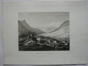 Stuben am Arlberg Klösterle Tirol Österreich Orig. Aquatinta-Radierung 1840