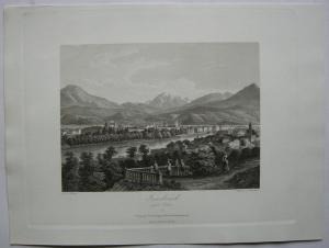 Innsbruck gegen Süden Tirol Österreich Orig. Aquatinta-Radierung 1840