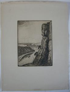 Berthold Hellingrath Sächsische Schweiz I Orig Radierung 1930 signiert