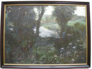 Emil Thoma (1869-1948) In der Simssee Filzen Orig Ölgemälde 1930 sign Chiemgau