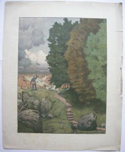 Ernst Liebermann (1869-1960) Ade mein Heimatland Orig Farblithografie 1910