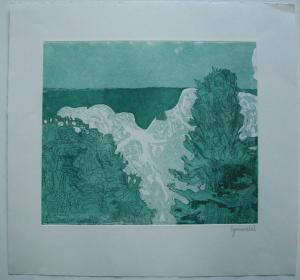 Herbert Grunwaldt (1928) Kreideküste Orig Farbradierung 1973 signiert