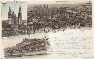 AK Würzburg Unterfranken Ansicht Stift Haug Kirche Festung Litho gel 1898