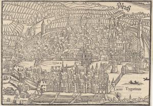 Sebastian Münster Orig. Holzschnitt Zürich Schweiz 1580 Gesamtansicht