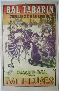 Plakat affiche Bal Tabarin Lithografie Smiley entoilé 1905 Bal de Patineuse